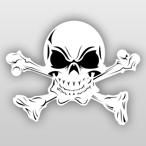 Skull and Crossbones Guitar and Bass Sticker