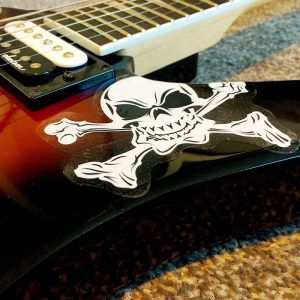 Self adhesive guitar and guitar case stickers